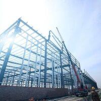 Metal building kit construction site